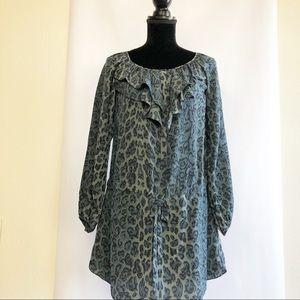 Rebecca Taylor Dress Tunic Silk Gray-Green Size 2